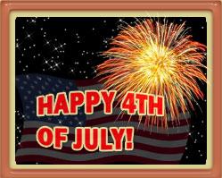 American flag, fireworks