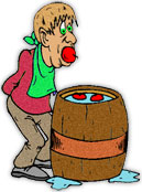 man bobbing for apples
