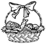 Easter basket black and white
