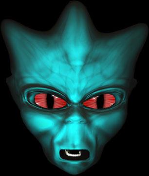 alien face red eyes