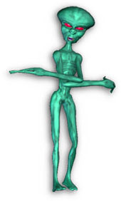 green alien with long arms