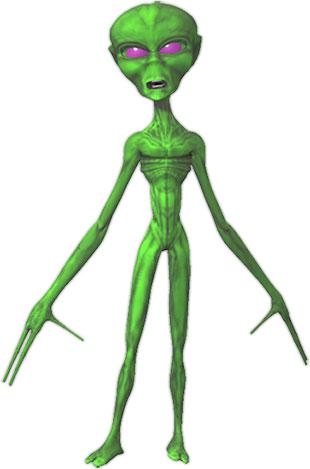 green alien with purple eyes
