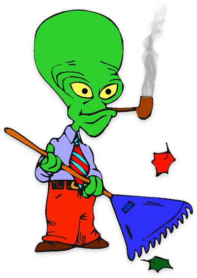 space alien doing yard work