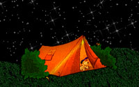 boy in tent under the stars