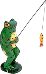 frog fishing with pole