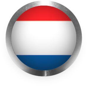 Netherlands flag clipart round with steel edge
