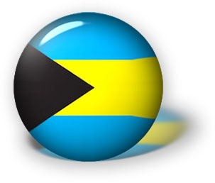 Bahamas flag button with reflection