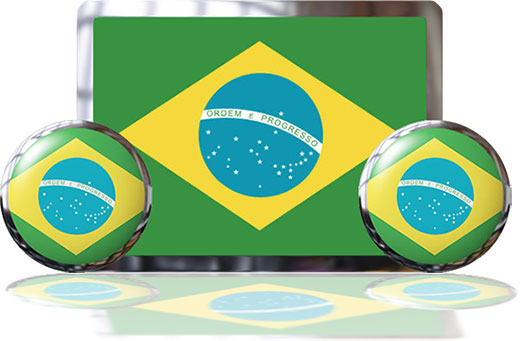 Brazil Flags with reflection