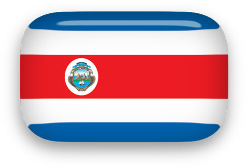 Costa Rica flag button rectagular