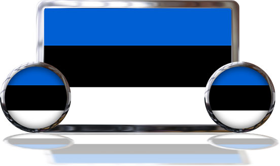 Estonian Flags with reflections