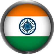 India Flag button round with metal frame
