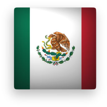 square Mexican Flag button