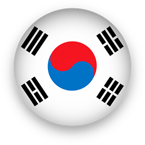 South Korean flag button round