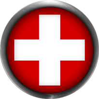 swiss flag button round with metal frame