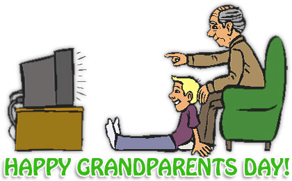 grandfather and grandson watching together