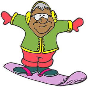 having fun on a snowboard