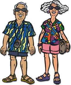 grandparents at the beach