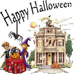 halloween scene house