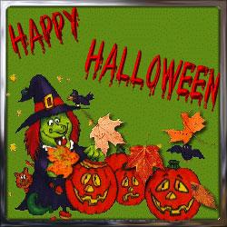 Happy Halloween scene witch