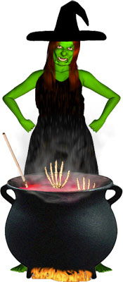 witch cooking candy in her cauldron