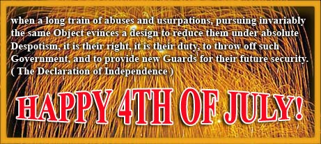 The Declaration of Independence with fireworks