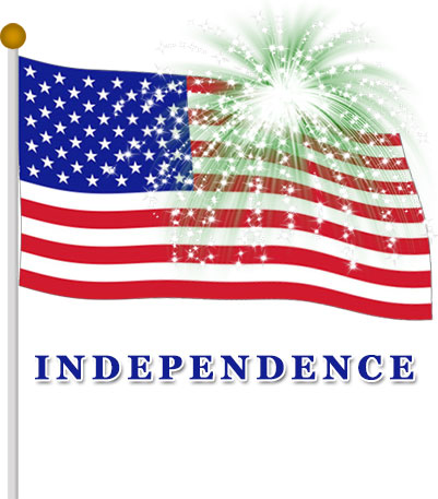 independence with flag and fireworks