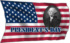 presidents day on flag with Washington